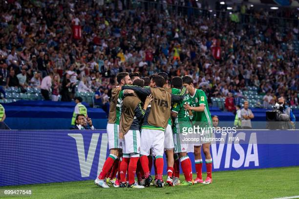 Oribe Peralta of Mexico celebrates his goal with team mates during the FIFA Confederations Cup Russia 2017 group A football match between Mexico and...