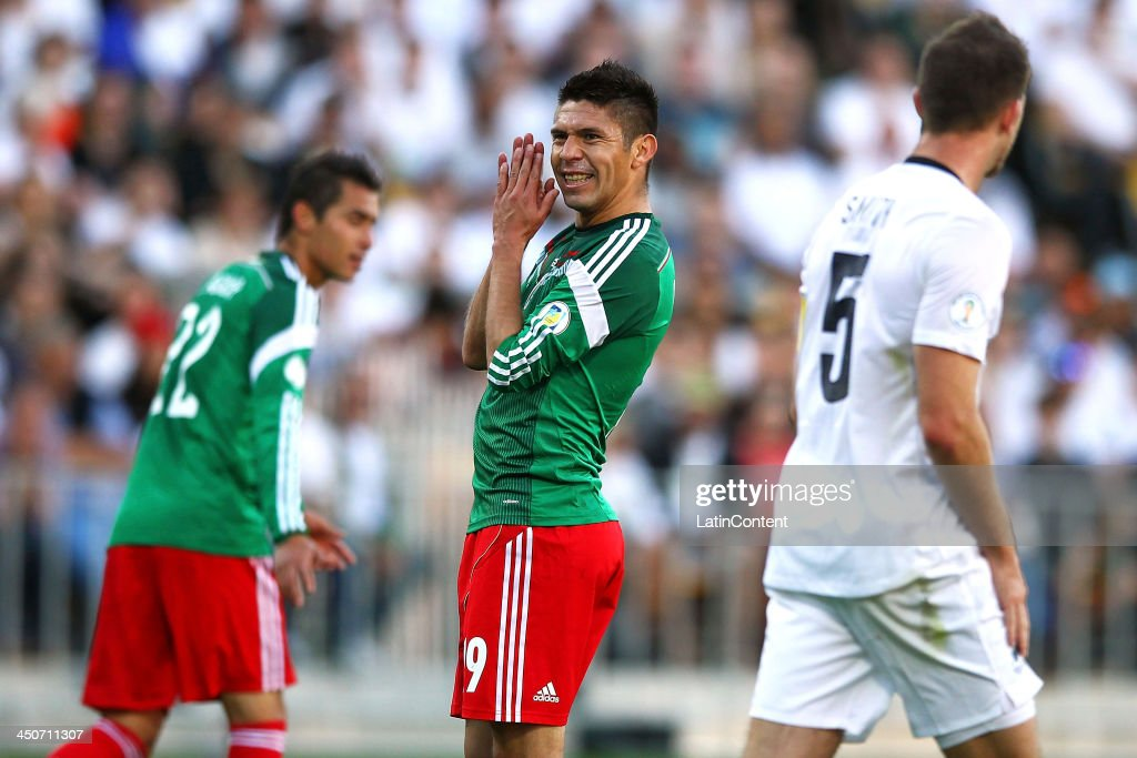 Oribe Peralta of Mexico reacts after missing a half chance during leg 2 of the FIFA World Cup Qualifier match between the New Zealand All Whites and Mexico at Westpac Stadium on November 20, 2013 in Wellington, New Zealand.