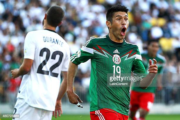 Oribe Peralta of Mexico reacts after scoring the opening goal during leg 2 of the FIFA World Cup Qualifier match between the New Zealand All Whites...