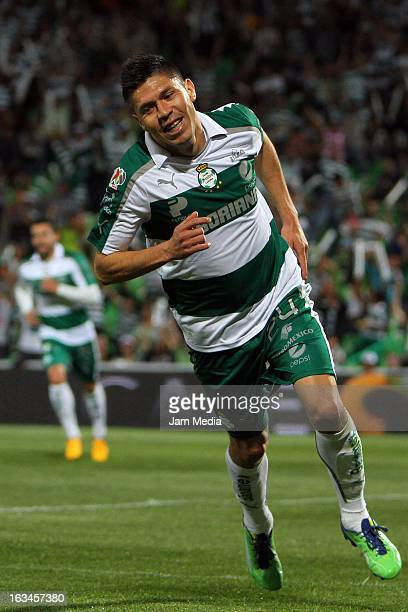 Oribe Peralta of Santos celebrates a goal against Atlante during a match between Santos and Atlante as part of the Clausura 2013 Liga MX at Corona...