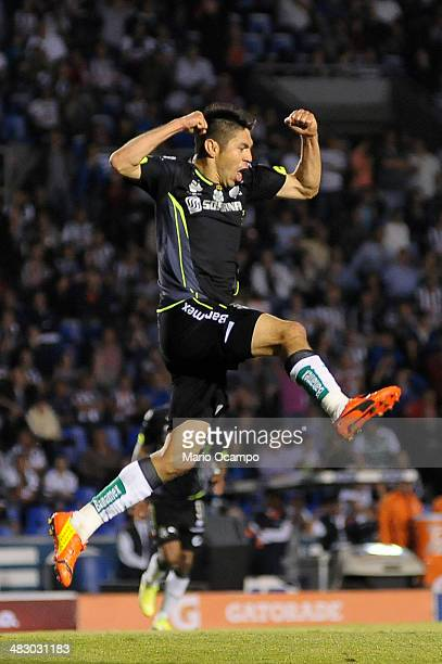 Oribe Peralta of Santos celebrates after scoring the second goal of his team during a match between Monterrey and Santos Laguna as part of the 14th...