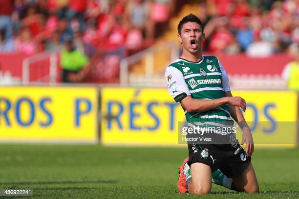 Oribe Peralta of Santos Laguna celebrates a scored goal the second of his team during a match between Veracruz and Santos Laguna as part of 17th...