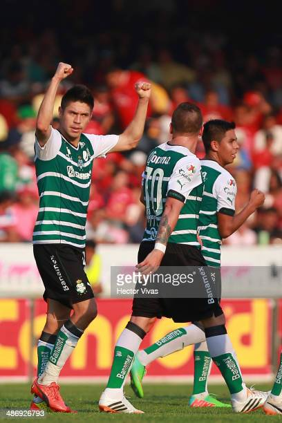 Oribe Peralta of Santos Laguna celebrates with his teammates the second goal of his team during a match between Veracruz and Santos Laguna as part of...