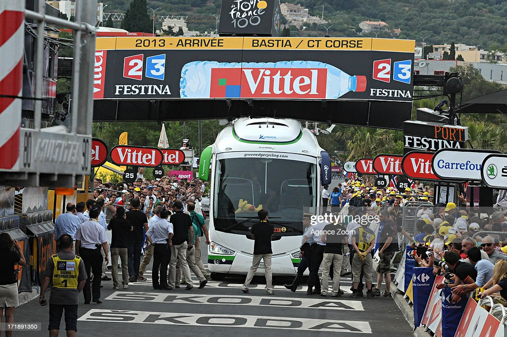 Orica bus stopped on the finish line during Stage 1 of the Tour de France from Porto-Vecchio to Bastia on June 29, 2013 in Bastia, France..