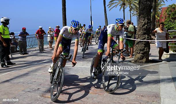 Orica GreenEdge ride before the first stage of the Vuelta a Espana cycling tour a 74 kilometre raceagainsttheclock between Puerto Banus Marina and...