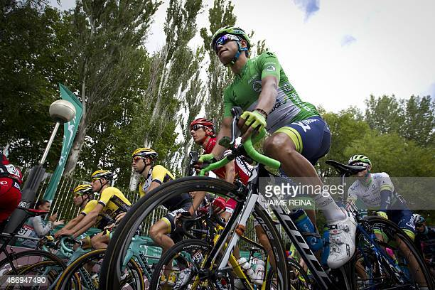 Orica GreenEdge's Colombian cyclist Esteban Chaves Rubio rides during the 14th Stage of the 2015 Vuelta Espana cycling tour a 215km route between...