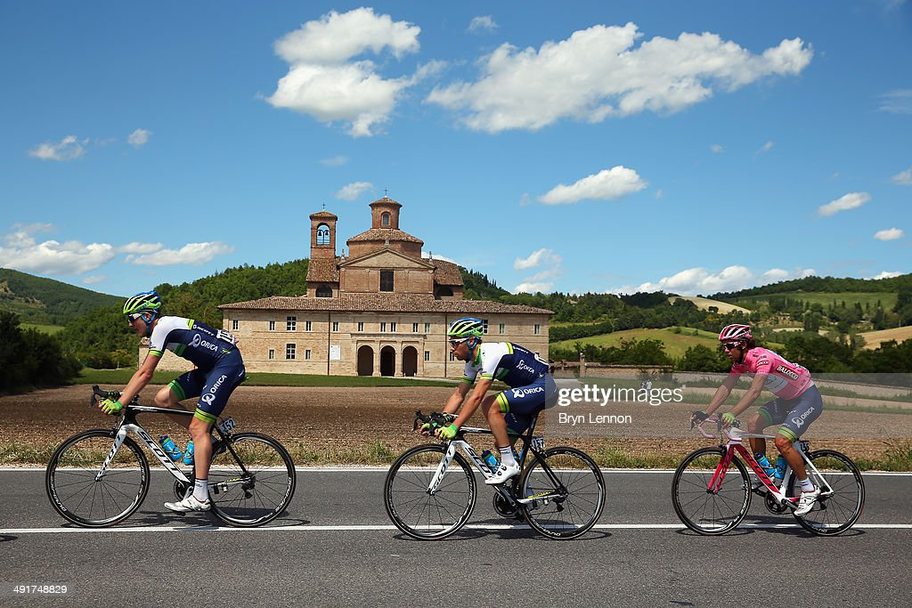 Orica-GreenEDGE riders <a gi-track='captionPersonalityLinkClicked' href=/galleries/search?phrase=Luke+Durbridge&family=editorial&specificpeople=4866206 ng-click='$event.stopPropagation()'>Luke Durbridge</a> of Australia, <a gi-track='captionPersonalityLinkClicked' href=/galleries/search?phrase=Mitchell+Docker&family=editorial&specificpeople=4167090 ng-click='$event.stopPropagation()'>Mitchell Docker</a> of Australia and Michael Matthews of Australia in action during the eighth stage of the 2014 Giro d'Italia, a 179km medium mountain stage between Foligno and Montecopiolo on May 17, 2014 in Montecopiolo, Italy.