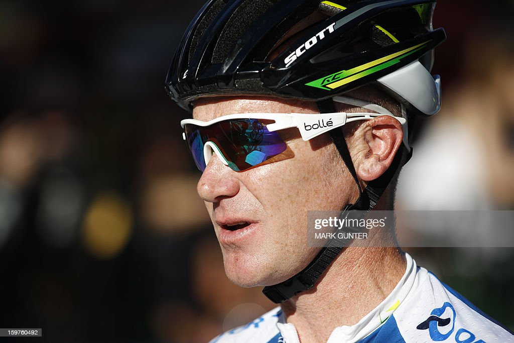 Orica-GreenEdge's Stuart O'Grady pf Australia is pictured before the start of the 51km People's Choice Classic prior to the Tour Down Under in Adelaide on January 20, 2013. The six-stage Tour Down Under takes place from January 20 to 27. AFP PHOTO / Mark Gunter USE