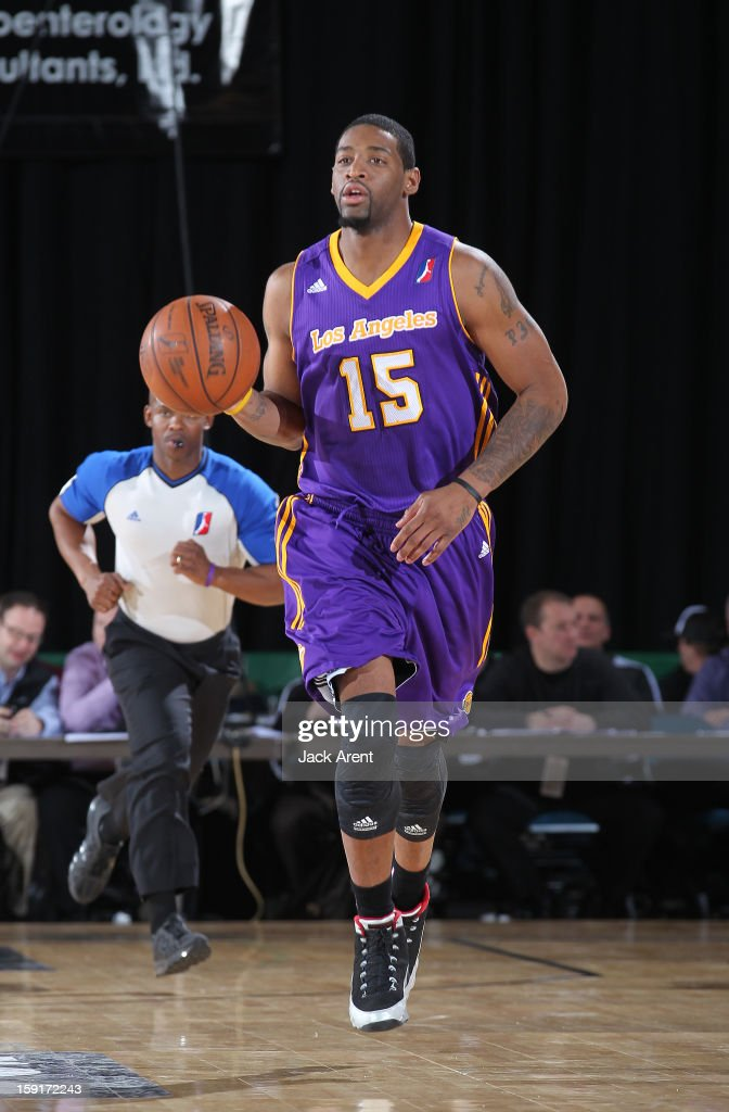 Orien Greene #15 of the Los Angeles D-Fenders dribbles the ball against the Iowa Energy during the 2013 NBA D-League Showcase on January 8, 2013 at the Reno Events Center in Reno, Nevada.