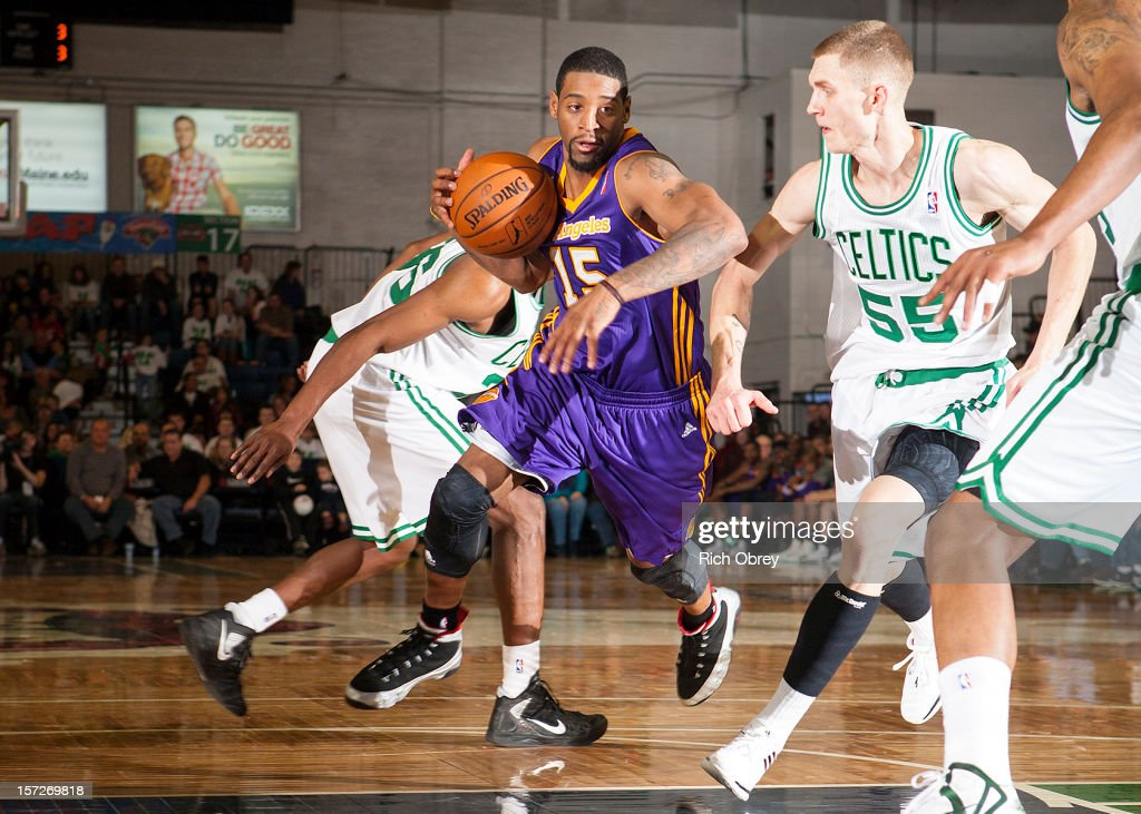 Orien Greene #15 of the Los Angeles D-Fenders drives to the basket against Micah Downs #55 of the Maine Red Claws on November 30, 2012 at the Portland Expo in Portland, Maine.