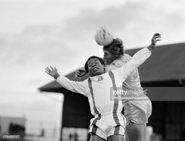 Orient winger John Chiedozie is beaten in the air by Newcastle United defender Stuart Boam during the Second Division match between Leyton Orient and...