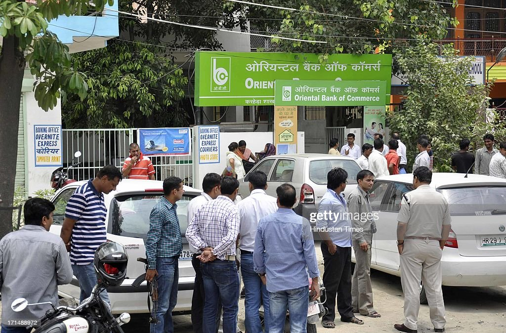 Oriental Bank of Commerce branch where a businessman was robbed of Rs 23.5 lakh at gun point by two bike-borne armed assailants in Sahibabad area on June 25, 2013 in Ghaziabad, India.
