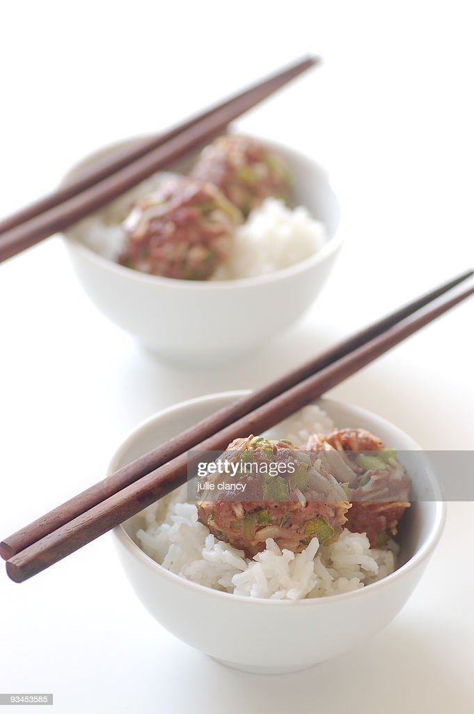 oriental  / chinese meatballs with steamed rice : Stock Photo
