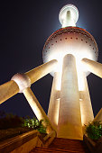 Oriental Pearl Tower lit up at night, Shanghai, China