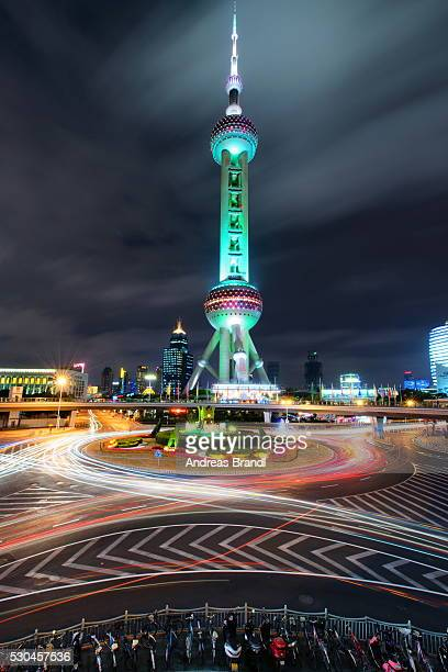 Oriental Pearl Tower with light trails in Shanghai Pudong, Shanghai, China, Asia