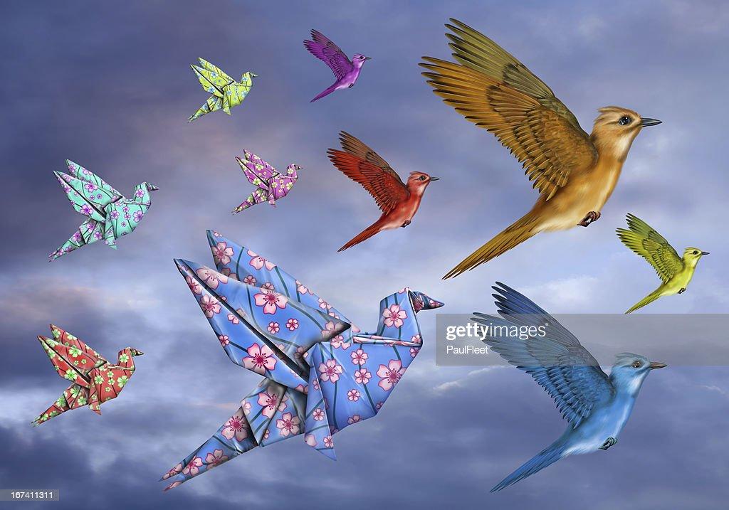 Origami Bird Dreamscape : Stock Photo