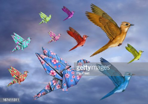 Origami Bird Dreamscape : Stock Photo