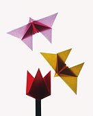 Origami Butterflies and Flower, High Angle View