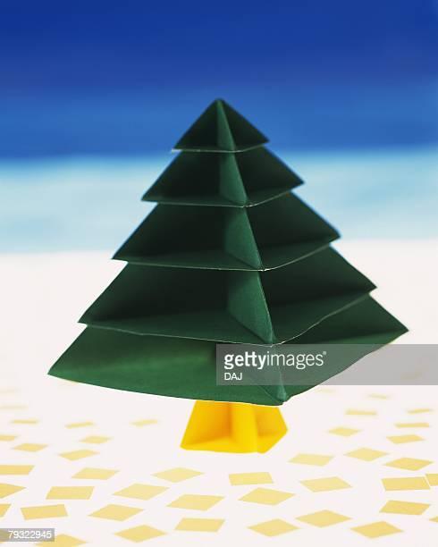 Origami Christmas Tree, High Angle View