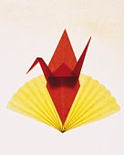 Origami Crane and Fan, High Angle View