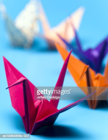 Origami cranes, close-up (focus on foreground) : Stock Photo