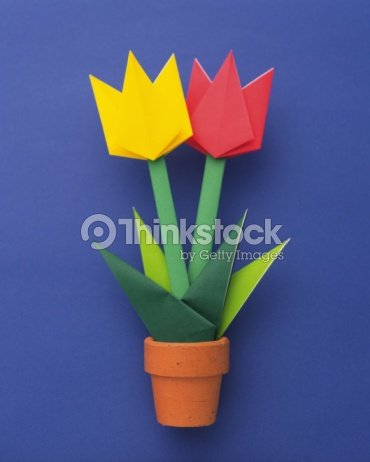 Origami flower tulip high angle view stock photo thinkstock origami flower tulip high angle view mightylinksfo