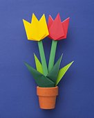 Origami Flower, Tulip, High Angle View