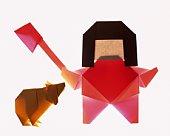 Origami Kintaro and Bear Cub