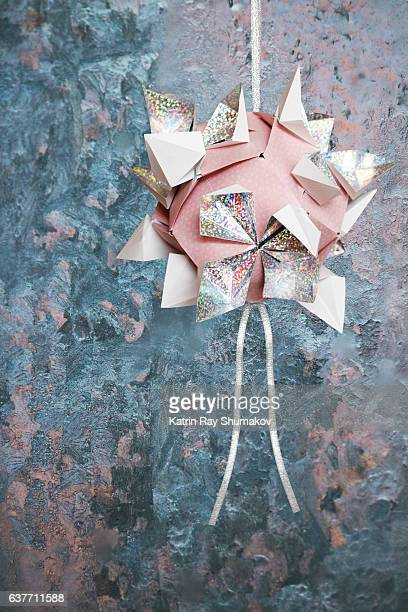 Origami Kusudama Garden. Blue and Pink of Winter Fairytale