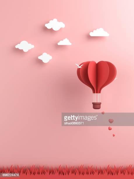 Origami aus Heißluftballon und cloud