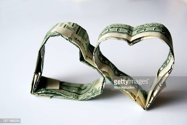 Origami Money Hearts Made from U.S. Dollars