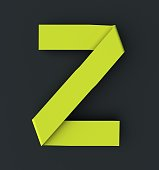 fluorescent yellow font. 3d rendering isolated on dark background
