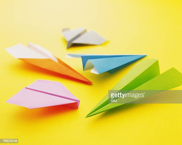 Origami Planes and papers, High Angle View