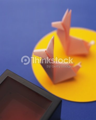 Origami Rabbits And Moon Tsukimi High Angle View Stock Photo