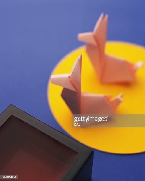 Origami Rabbits and moon, Tsukimi, High Angle View