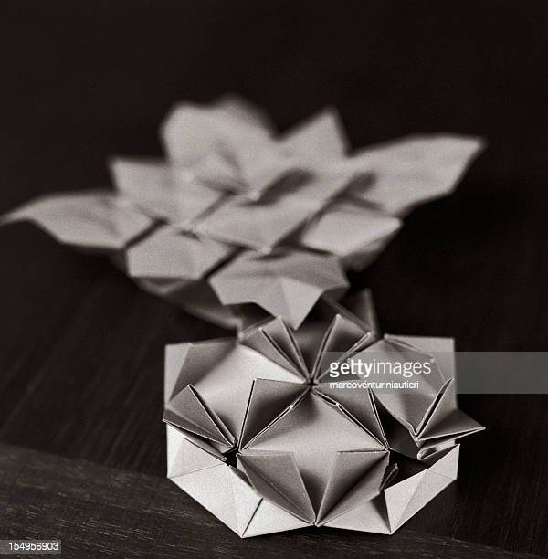 Origami shapes, close-up, black and white