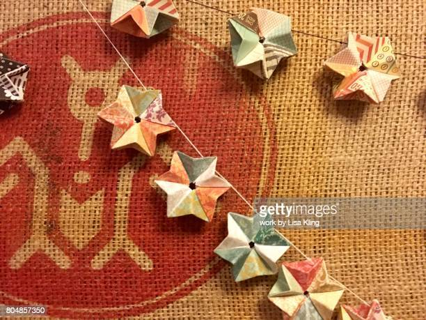 Origami Stars on a burlap coffee bag