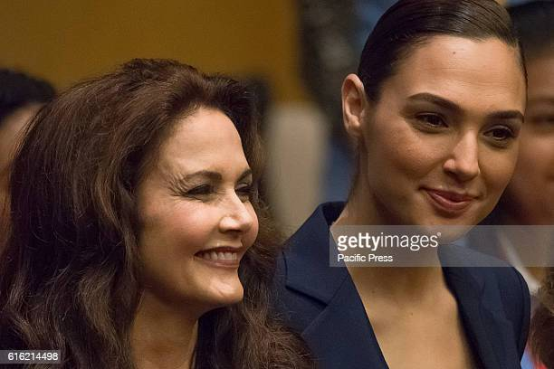 Original and remake 'Super Woman' stars Lynda Carter and Gal Gadot are seen at the ceremony An event was held in the United Nations Headquarters'...