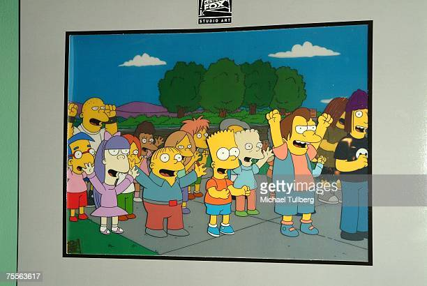 Original animation cels from 'The Simpsons' on display at the 'Get Inked With Homer' benefit at the Wonderful World Art Gallery on July 19 2007 in...