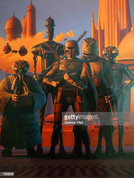 Original artwork titled 'Bounty Hunters in Cloud City' by Ralph McQuarrie is displayed April 4 2002 at the exhibit 'Star Wars The Magic of the Myth'...
