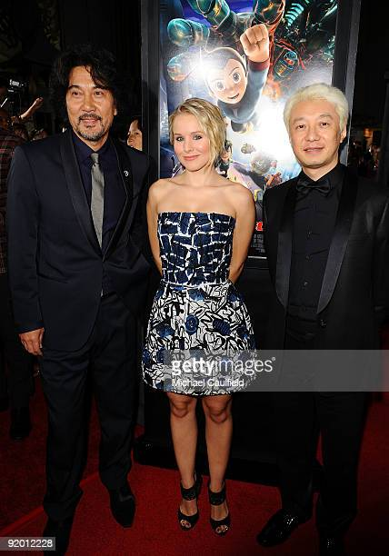 Original Astro Boy voice artist Koji Yakusho actress Kristen Bell and son of Astro Boy creator Macoto Tezuka arrive at the Los Angeles Premiere of...
