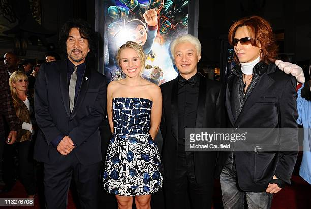 Original Astro Boy voice artist Koji Yakusho actress Kristen Bell son of Astro Boy creator Macoto Tezuka and singer Yoshiki arrive at the Los Angeles...