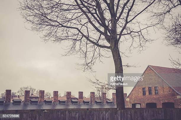 Original brick barracks and chimneys of gas chambers