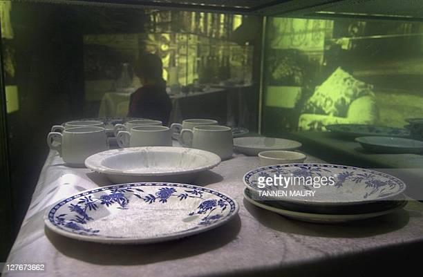 Original china recovered from the wreck of the Titanic is on display in a waterfilled tank at the Titanic exhibit 18 February 2000 at the Museum of...