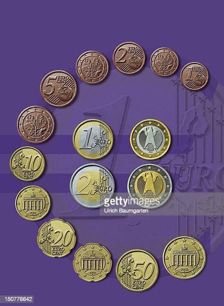 Original Euro coins as Euro symbol obverse and reverse