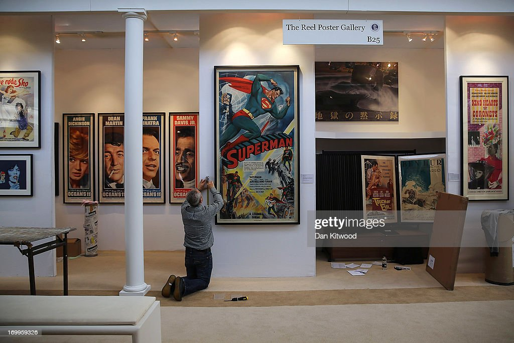 Original film posters are displayed ahead of the Olympia 'International Fine Art and Antiques Fair' at Olympia Exhibition Centre on June 5, 2013 in London, England. The 41st Olympia Arts and Antiques fair hosts 180 dealers selling items of 20th century design, ceramics, carpets, art deco, 18th and 19th century English furniture, modern British art and tribal art amongst other things. It will open to the public tomorrow until 16 June, 2013.