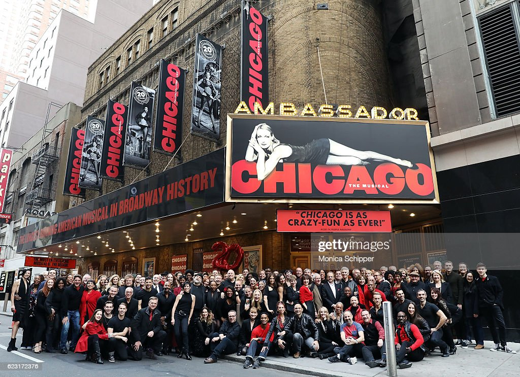 Original, former and current 'Chicago' cast members pose for a photo as they celebrate the 20th anniversary of 'Chicago' opening on Broadway at the Ambassador Theatre on November 14, 2016 in New York City.