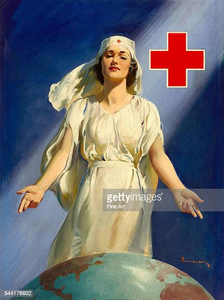 Original oil painting for a WWII Red Cross poster with Red Cross nurse standing with open arms over the globe of the world by Haddon Sundblom