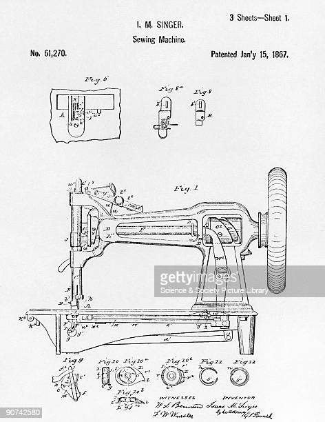 Original patent drawing of an early Singer round bobbin sewing machine 1867 Isaac Merritt Singer originally worked on theatre only working with...