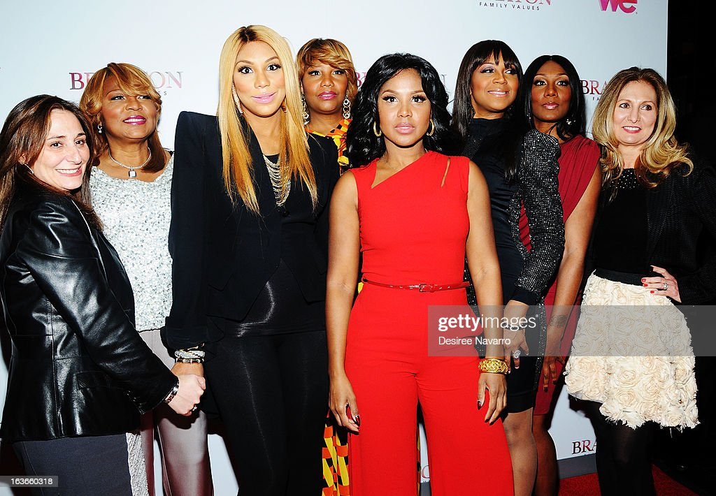 SVP, Original Production & Development of WEtv Lauren Gellert, Evelyn Braxton, Tamar Braxton, Traci Braxton, Toni Braxton, Trina Braxton, Towanda Braxton and President & General Manager WEtv Kim Martin attend the 'Braxton Family Values' Season Three premiere party at STK Rooftop on March 13, 2013 in New York City.
